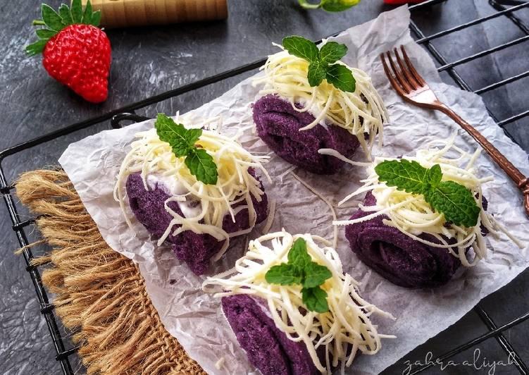 Resep Taro Steamed Cake (mini roll)