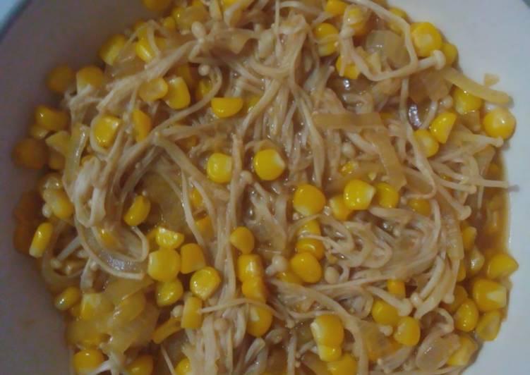 Resep Tumis jamur enoki + jagung manis tanpa