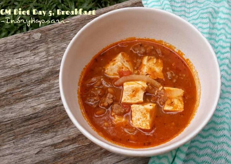 Resep Menu Diet GM hari ke Soup tomat daging cincang tahu (sarapan)