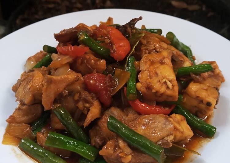 Resep Tumis tempe ayam kacang panjang
