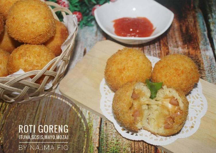 Resep Roti goreng (isi tuna mayo sosis moza)