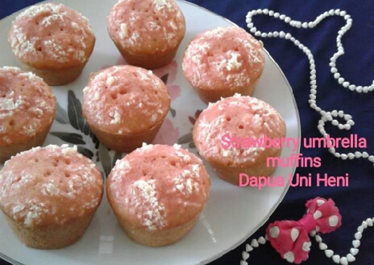 Resep Strawberry umbrella muffins