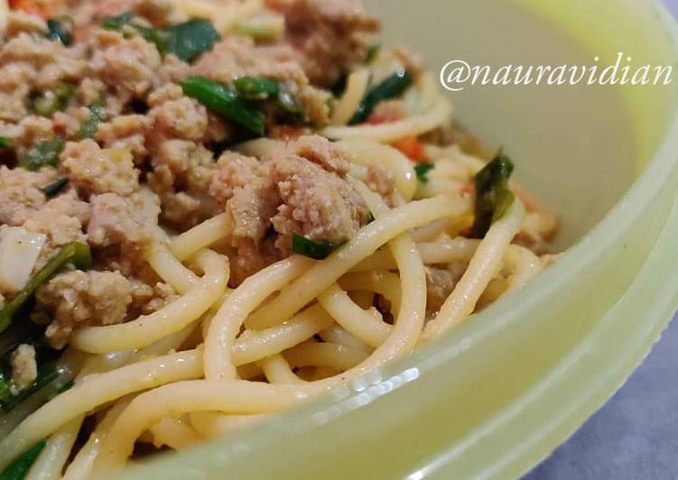 Resep Spagetti daging (cepat, praktis dan enak)