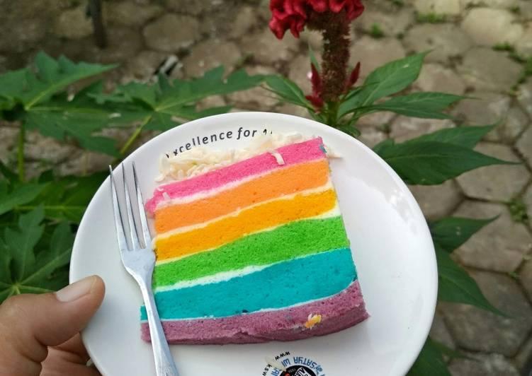 Resep Steam Rainbow Cake 4 Telur