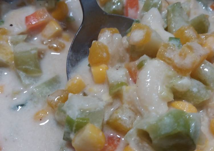 Resep Creamy vegetable mac soup mpasi 1+