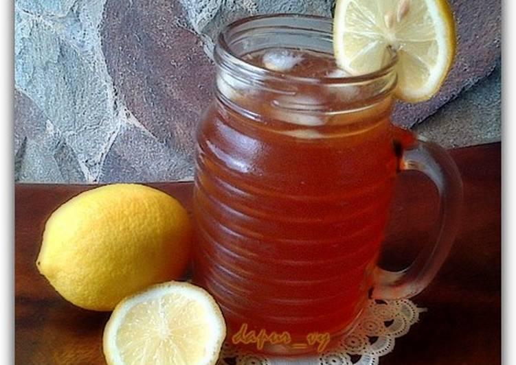 Resep Honey LEMON ICE TEA with soda water