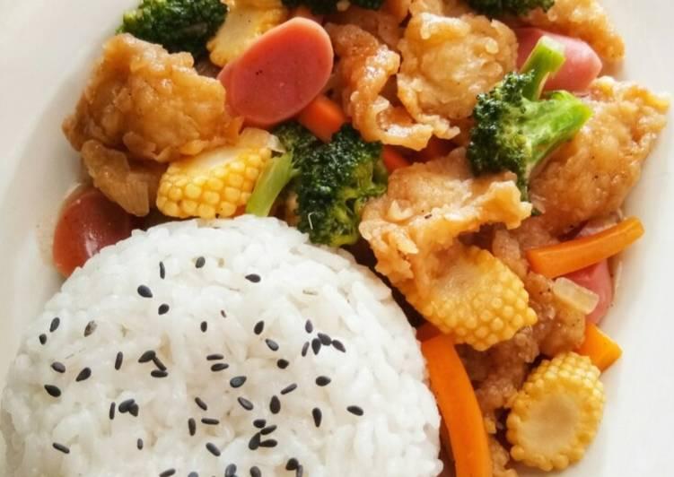 Resep Ayam Koloke (Saos Asam Manis+Sayuran)