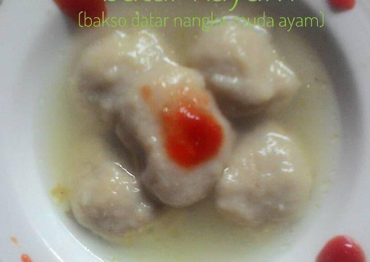 Resep Batar kayam (bakso datar nangka muda ayam)