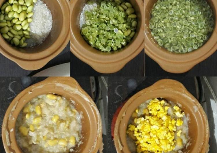 Resep Puree Beras Putih + Edamame + Buncis with Kuning Telur + Tofu Topping MPASI 9M