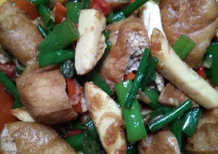 Resep Oseng putih telur, tahu pong+kembang bawang/kacang panjang