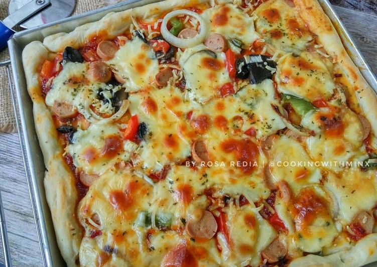 Resep Soft Square Thin Crust Pizza