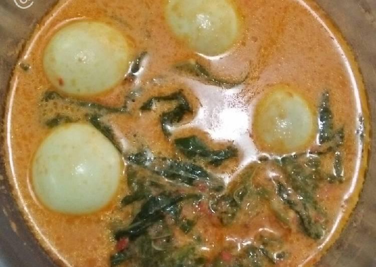 Resep Gulai Telur Daun Pucuk Ubi/Singkong