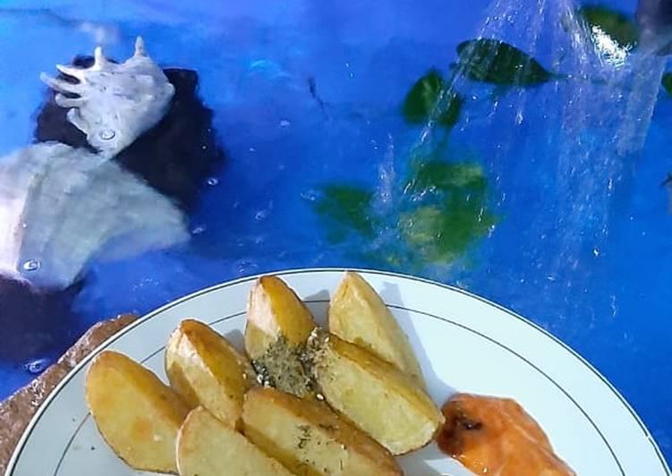 Resep Potato wedges dan udang bakar madu teflon