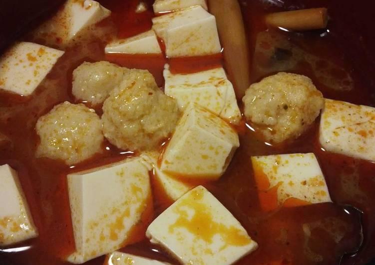 Resep Tom yum soup bola-bola ikan tofu
