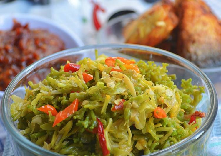 Resep Oseng Bunga Pepaya & Teri Medan/Nasi Pedas