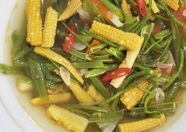 Resep Tumis tangkai kangkung & jagung muda