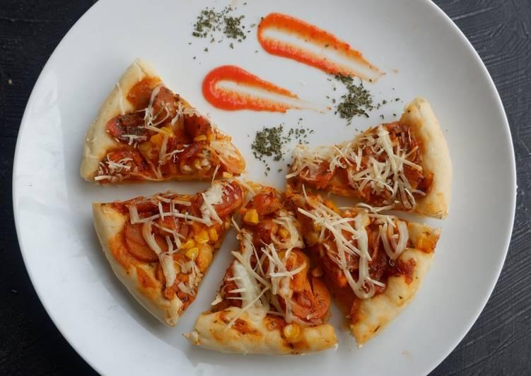 Resep Pizza beeforn (Beef-corn), ulen hanya 3 menit