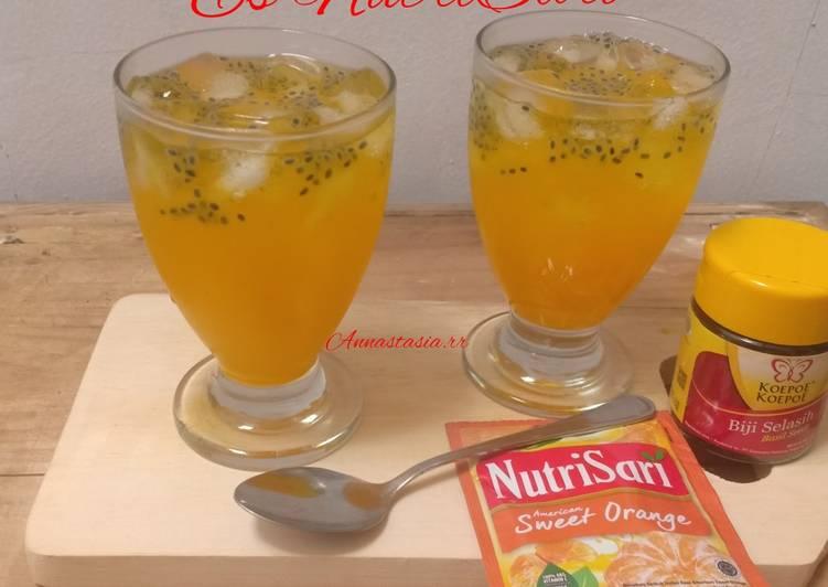 Resep Es nutrisari mix biji selasih