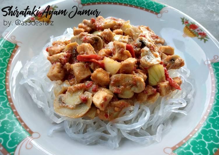 Resep Shirataki Ayam Jamur
