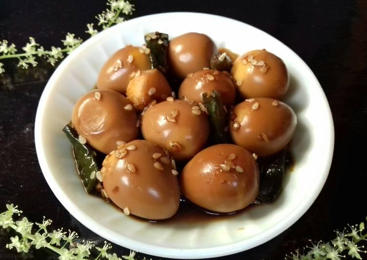 Resep Soy Braised Quail Eggs (Mechurial Jangjorim: )