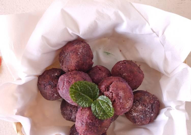 Resep Bola-bola ubi ungu (isi coklat)