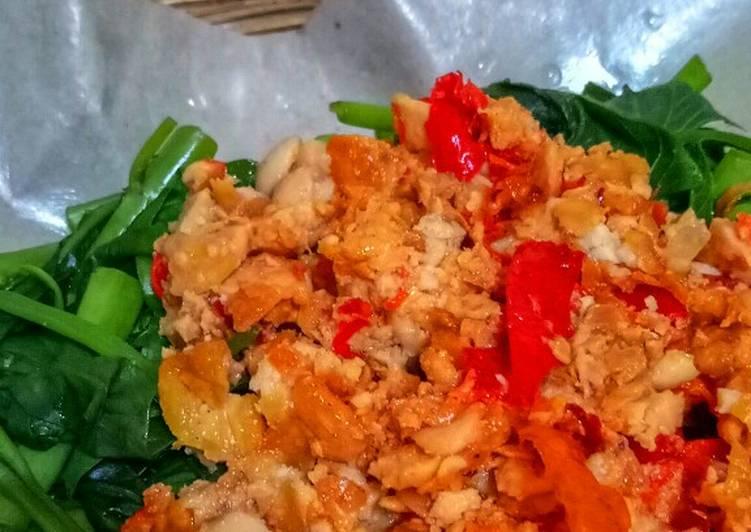 Resep Kangkung Siram sambel Tempe