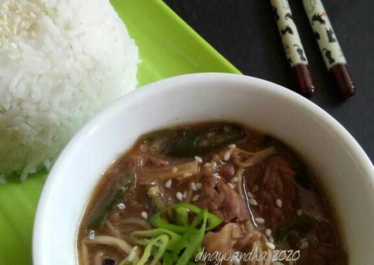 Resep Beef Sukiyaki Enoki tumis Lada Hitam