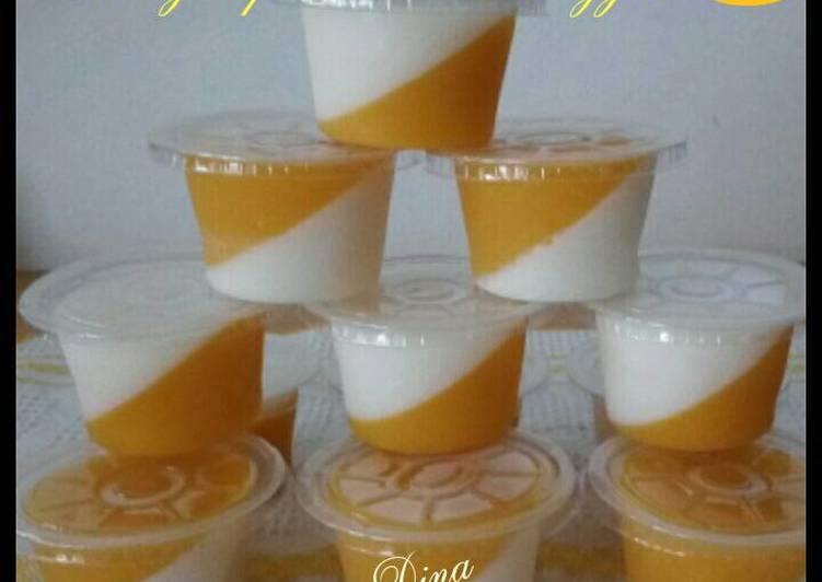 Resep Puding lapis buah mangga