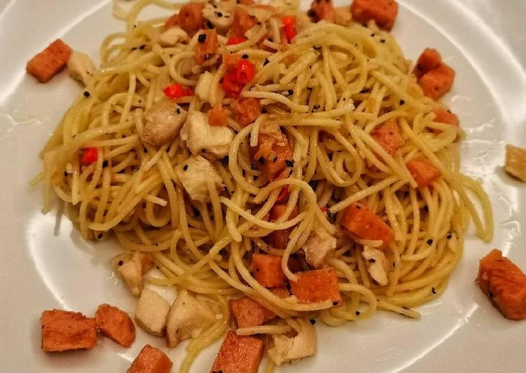Resep Chicken and Maling Spaghetti Aglio Oglio