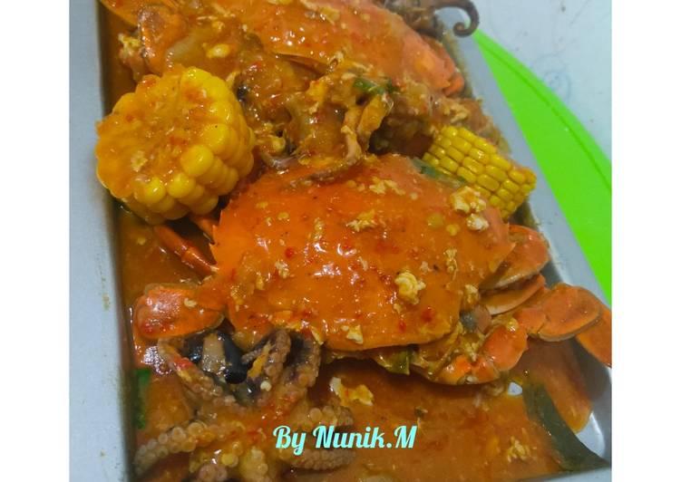 Resep Kepiting dan baby gurita saos Padang