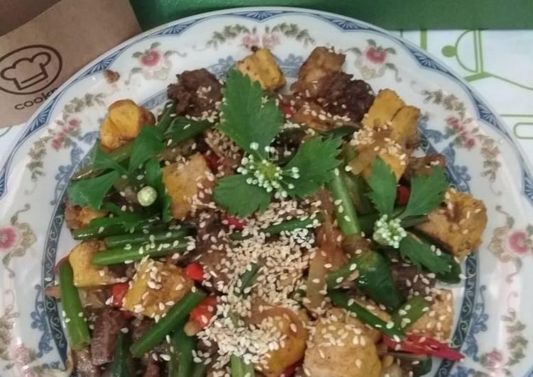 Resep Oseng daging sapi mix tahu tabur wijen