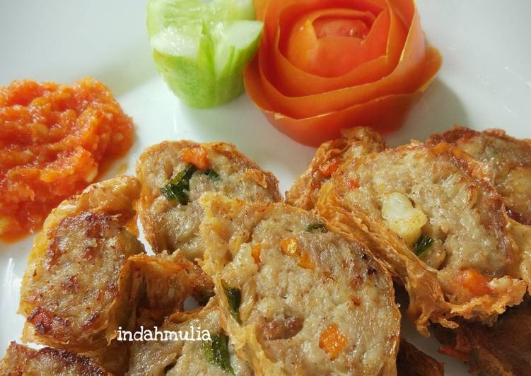 Resep Ngo hiong / Hekeng / Go hiong / daging bungkus kulit tahu halal