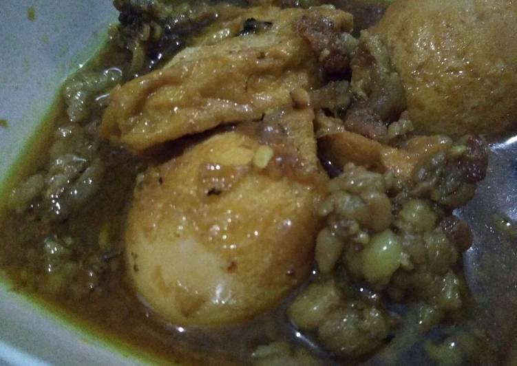 Resep Tahu telor + tetelan bumbu lapis (di kuahin)