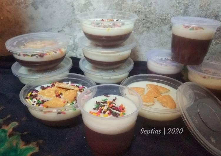 Resep Puding Pop Ice Chocolate fla Susu