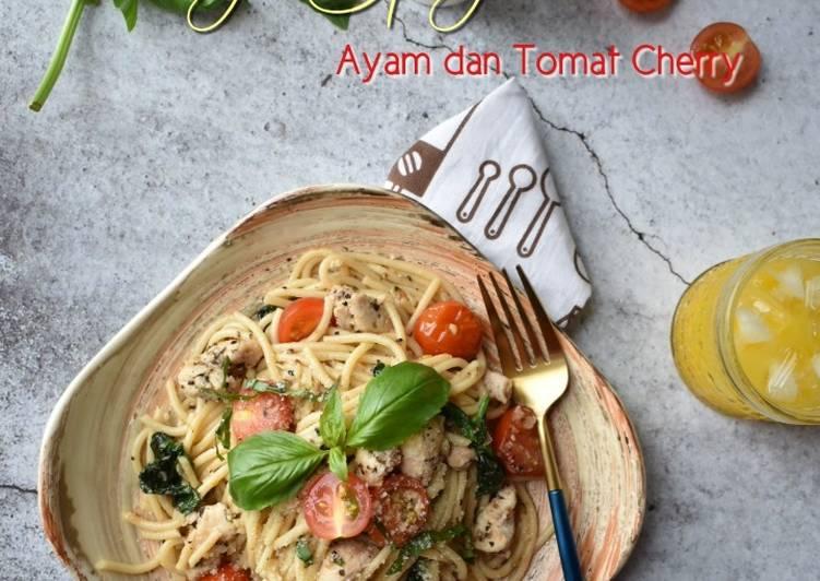 Resep Oseng Spaghetti Ayam dan tomat Cherry