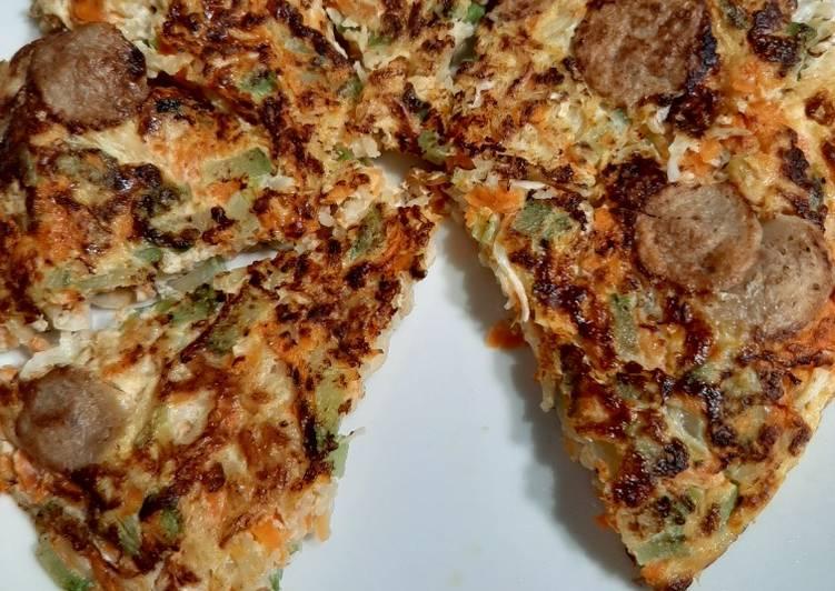Resep PIZZA Mie + Sayuran (Labu, wortel, kol, daun bawang)