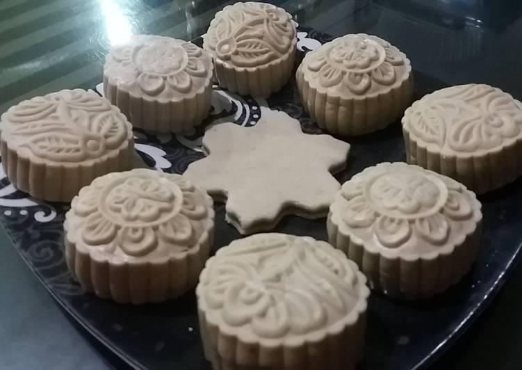 Resep 1Snowskin mooncake isi mochi bunga telang