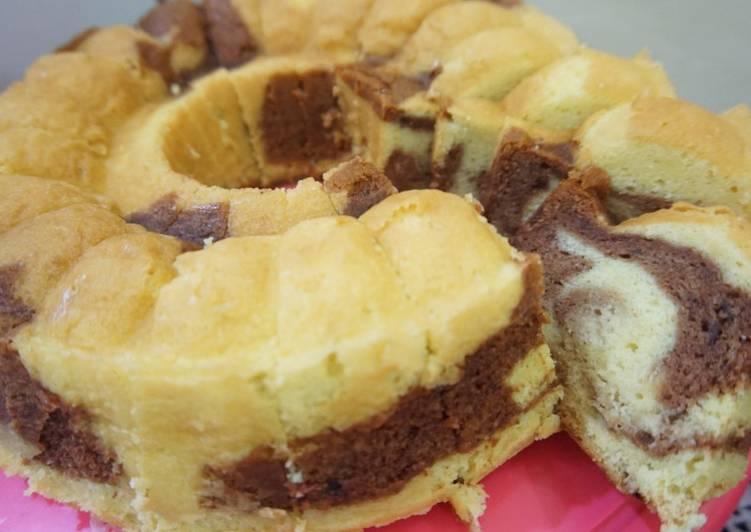 Resep Marmer Cake / marble cake tanpa emulsifer