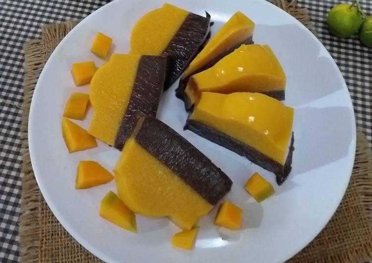 Resep Puding mangga lapis cokelat
