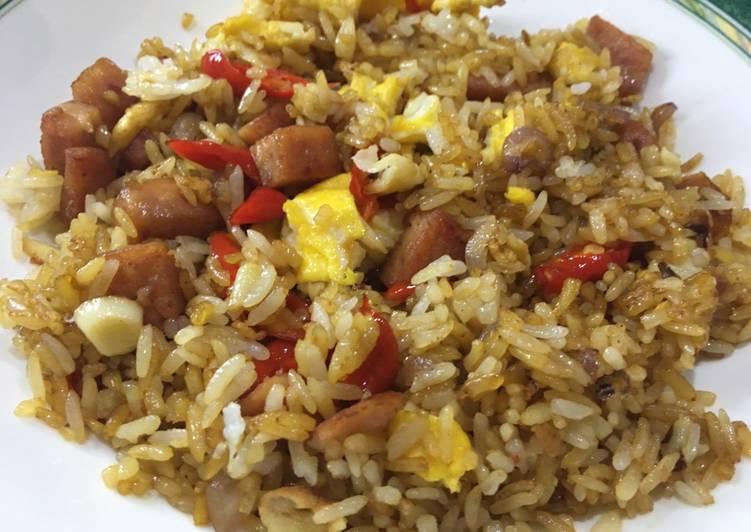 Resep Nasi goreng daging maling telur, simple banget dan enak (non-halal)