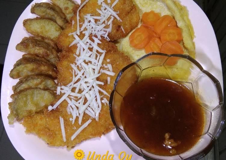 Resep Chicken Crispy Cheesy Steak with Potato Wedges