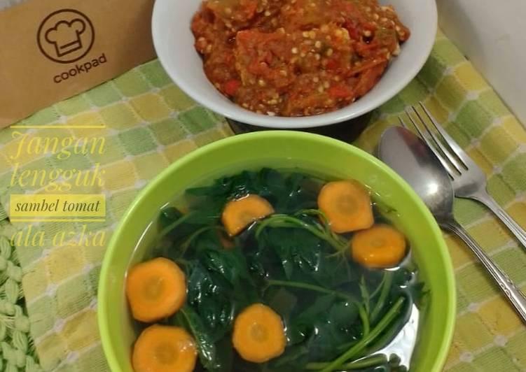 Resep Jangan lengguk (sayur daun ketela)+ sambal tomat