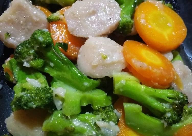 Resep Tumis Gurih Brokoli, Wortel, Bakso