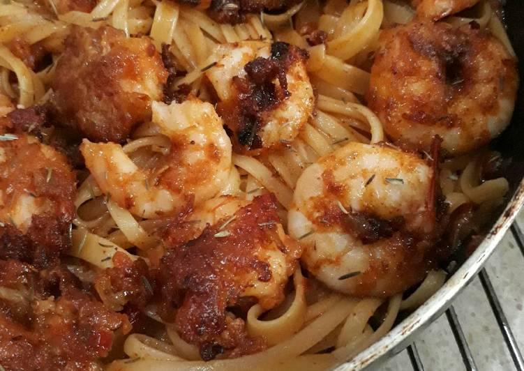 Resep Fettucini cajun shrimp