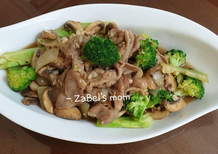 Resep Tumis Jamur - Brokoli - Babi