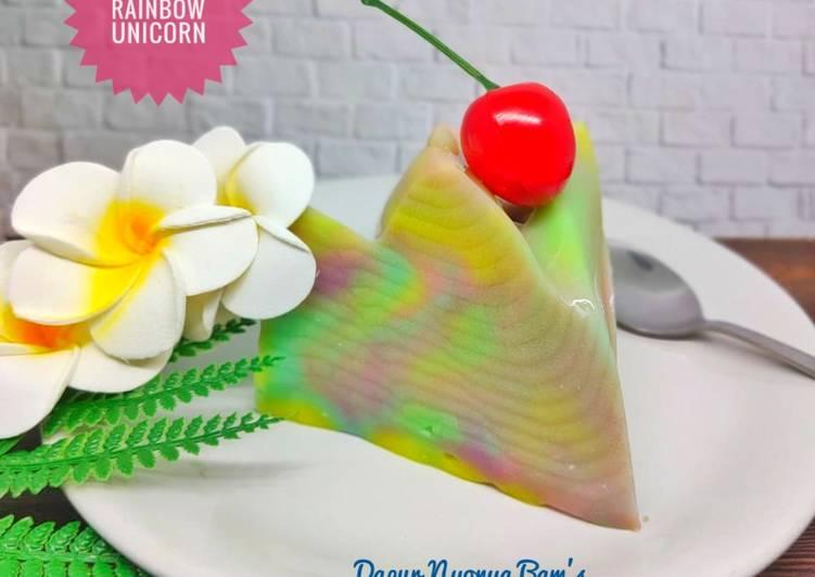Resep Puding Rainbow Unicorn (Manisnya Pas,Ga bikin eneg)