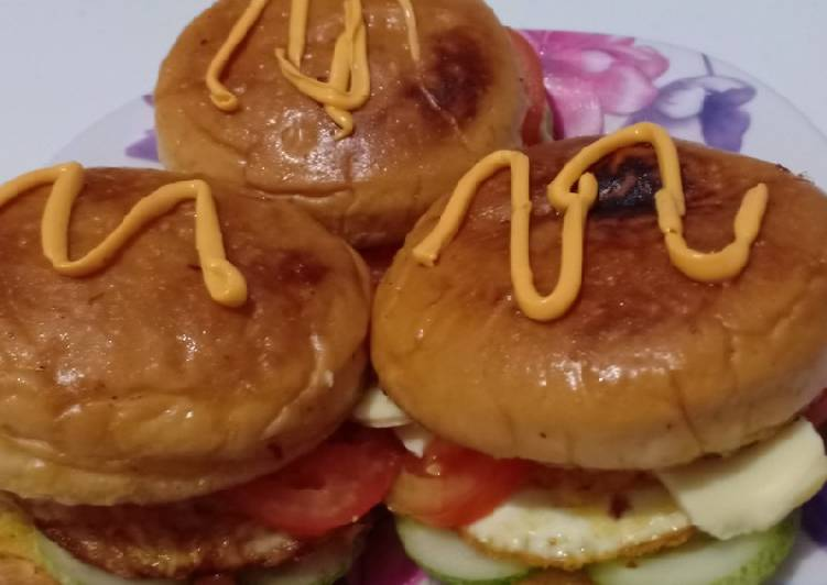 Resep Egg burger cheese rumahan