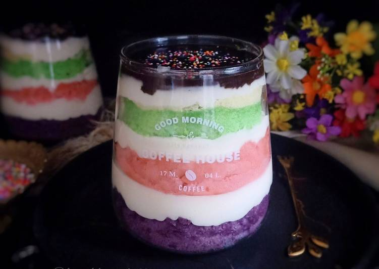 Resep Rainbow Cake In Jar