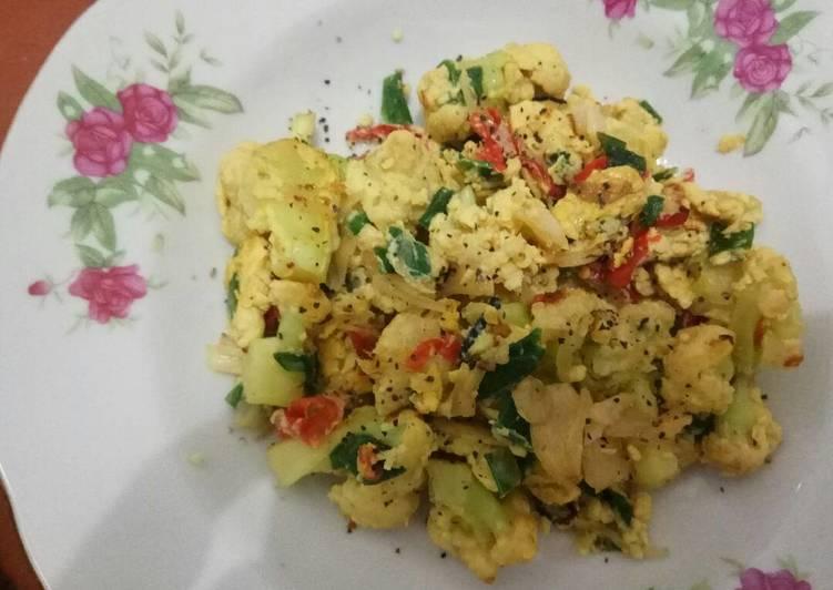 Resep Cauliflower scrambled egg