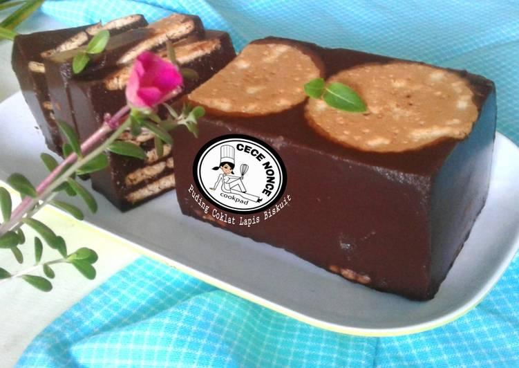 Resep Puding Coklat Lapis Biskuit